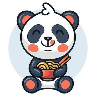 Schattige panda die noodle ramen eet