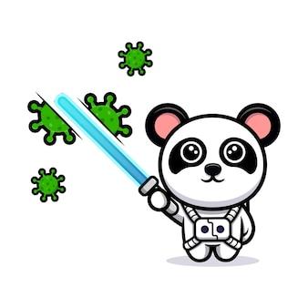 Schattige panda doodt het virus met de cartoonmascotte van het laserzwaard