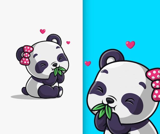 Schattige panda eet bamboe blad pictogram illustratie. panda mascotte stripfiguur.