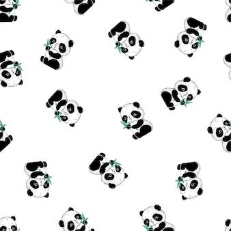 Schattige panda en bamboe naadloze patroon.