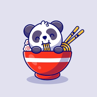 Schattige panda eten noedel cartoon pictogram illustratie. diervoeder icon concept premium. platte cartoon stijl