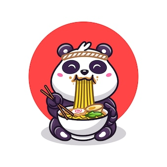 Schattige panda eten ramen noodle cartoon vectorillustratie. animal food concept geïsoleerde vector. flat cartoon stijl