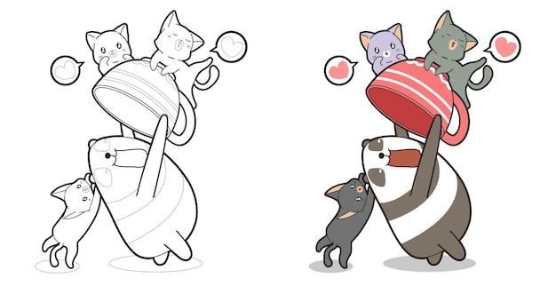Schattige panda geniet met katten cartoon kleurplaat voor kinderen