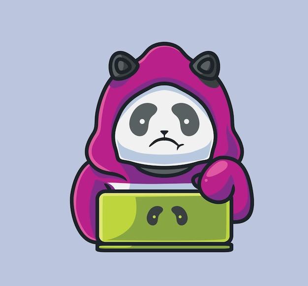 Schattige panda hacker op laptop geïsoleerde cartoon dier technologie illustratie flat style geschikt
