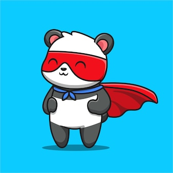Schattige panda hero cartoon pictogram illustratie.