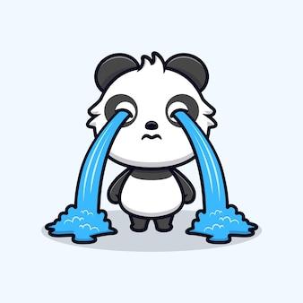 Schattige panda huilen. dier cartoon mascotte vectorillustratie