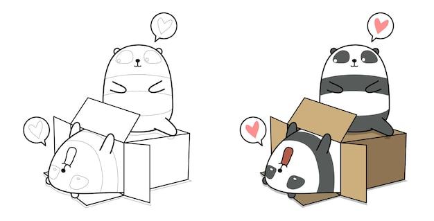 Schattige panda in de doos met vriend cartoon kleurplaat voor kinderen