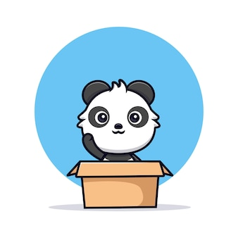 Schattige panda in doos en wuivende poot. dier cartoon mascotte vectorillustratie