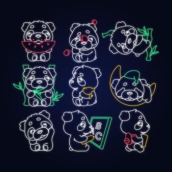 Schattige panda kawaii neonlicht karakters pack. aanbiddelijk en grappig dier dat watermeloen eet, slaapt, terug naar school geïsoleerde sticker, geplaatste flarden. anime baby baby beer doodle emoji's schetsen pictogrammen