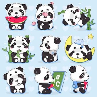 Schattige panda kawaii stripfiguren instellen. schattige, vrolijke en grappige dierenetende watermeloen, bamboe geïsoleerde sticker, patches pack. anime baby panda beer slapende emoji op blauwe achtergrond