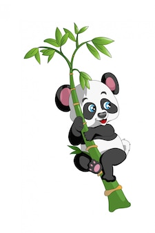 Schattige panda klimt naar de bamboeboom, grappig, met de hand tekenen