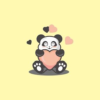 Schattige panda knuffel liefdeskussen