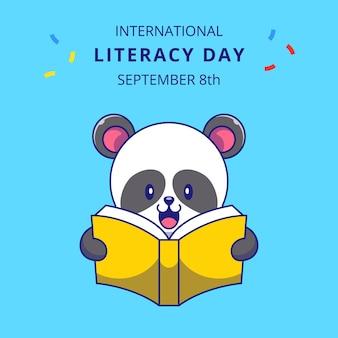 Schattige panda lezen van een boek cartoon afbeelding. panda mascotte stripfiguren.