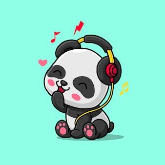 Schattige panda luisteren muziek met hoofdtelefoon