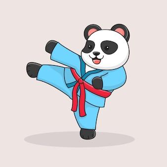 Schattige panda martial kicking