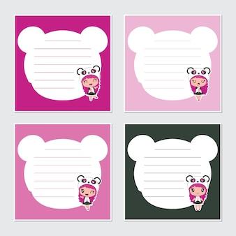 Schattige panda meisjes cartoon op kleurrijke frame