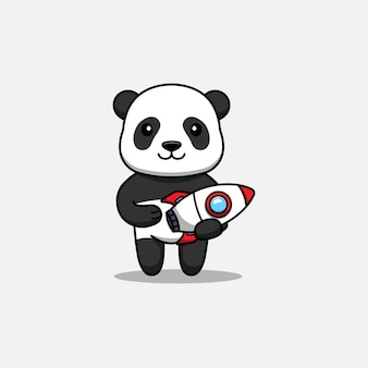 Schattige panda met een raket