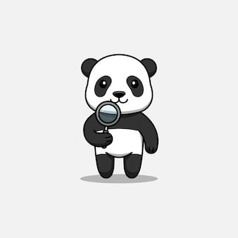 Schattige panda met een vergrootglas