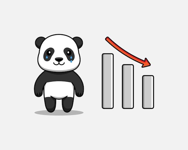 Schattige panda met grafiek naar beneden