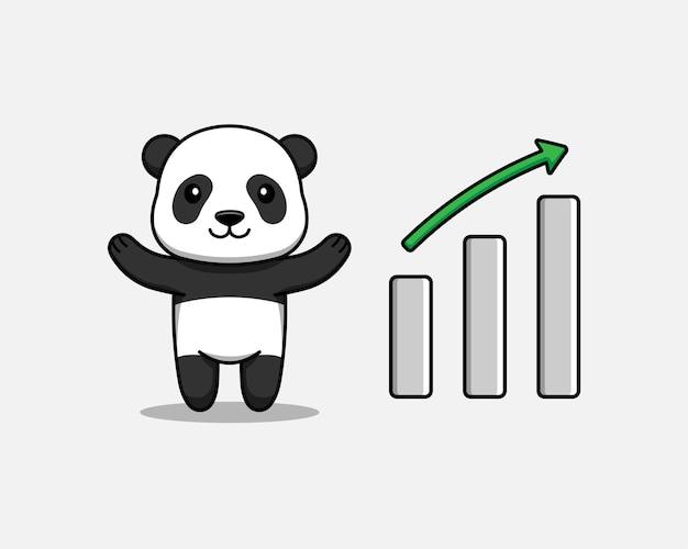 Schattige panda met grafiek omhoog teken