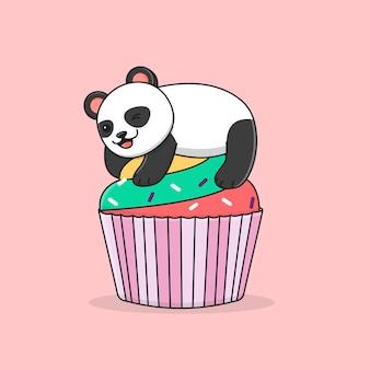 Schattige panda met kleurrijke cupcake