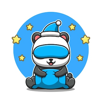 Schattige panda met kussen, oogmasker en hoed cartoon. dierlijke natuur pictogram concept geïsoleerd. flat cartoon stijl