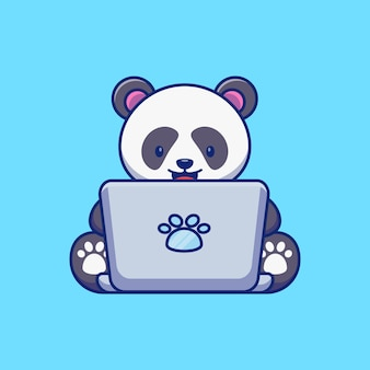 Schattige panda met laptop illustratieontwerp