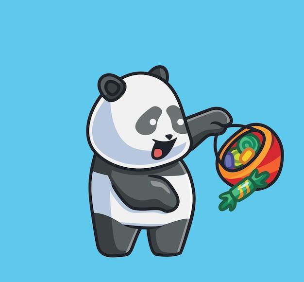 Schattige panda met zoete snoep. geïsoleerde cartoon dierlijke halloween illustratie. vlakke stijl geschikt voor sticker icon design premium logo vector. mascotte karakter