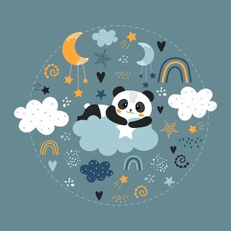 Schattige panda op de wolk.