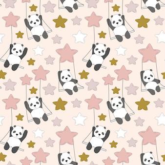 Schattige panda op een schommel in de lucht tussen de sterren.