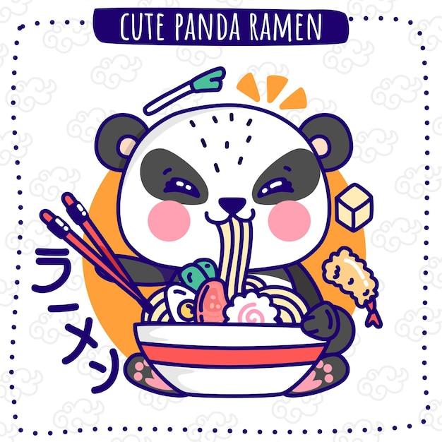 Schattige panda ramen