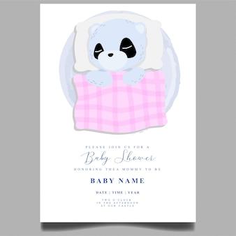 Schattige panda slaap baby shower uitnodiging pasgeboren bewerkbare sjabloon