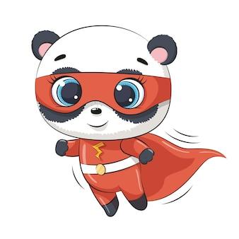 Schattige panda superheld.