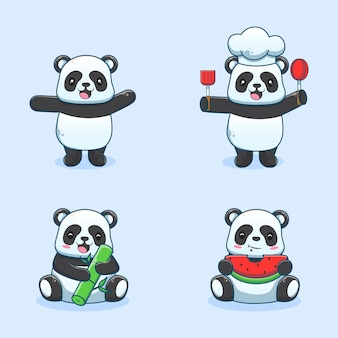 Schattige panda tekenfilmset