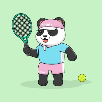 Schattige panda tennissen met hoed