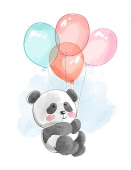 Schattige panda vliegen met ballonnen