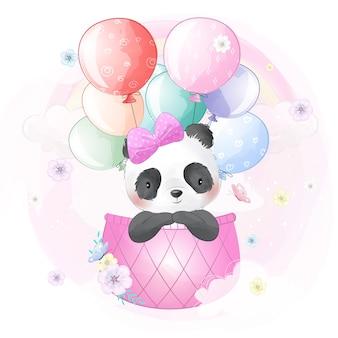 Schattige panda vliegen met luchtballon