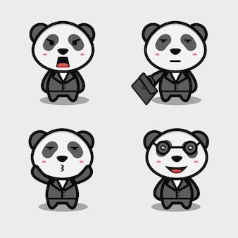 Schattige panda werknemer tekenfilm set