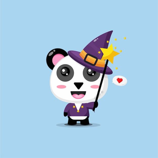 Schattige panda wordt een heks