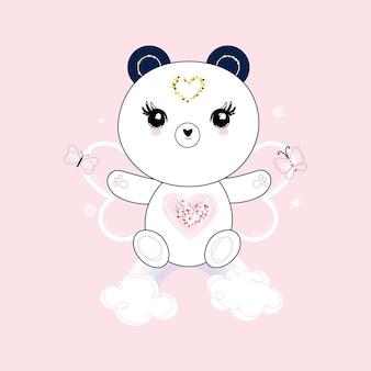 Schattige panda zittend op de regenboog, harten en bloemen