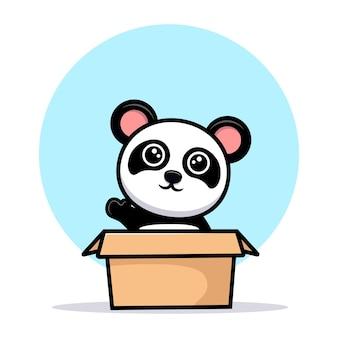 Schattige panda zwaaiende hand uit doos cartoon mascotte
