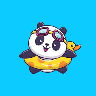 Schattige panda zwemmen met zwemmen ring