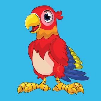 Schattige papegaai in fel rood