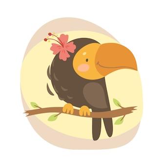 Schattige papegaai print illustratie