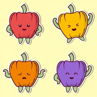 Schattige paprika illustratie instellen collectie sticker. cartoon karakter bundel