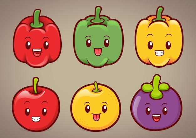 Schattige paprika's en fruit karakter illustratie Premium Vector