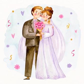 Schattige pasgetrouwden paar en boeket bloemen
