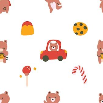 Schattige pastel kleur scandinavische stijl beer cub snoep doodle hand getekende illustratie