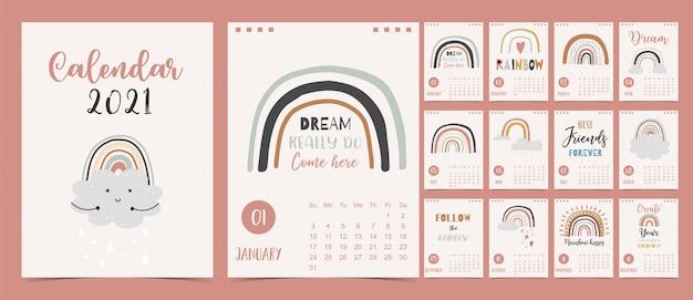 Schattige pastelkalender 2021 met regenbogen
