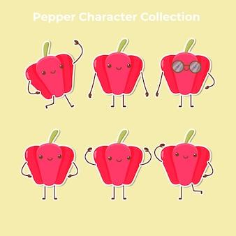 Schattige peper karakter collectie vector